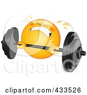 Royalty Free RF Clipart Illustration Of A Sweaty Emoticon Lifting A Heavy Barbell by yayayoyo #COLLC433526-0157