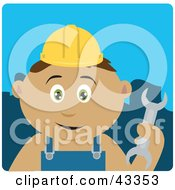 Clipart Illustration Of A Hispanic Construction Worker Boy Holding A Wrench by Dennis Holmes Designs