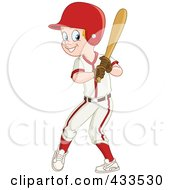 Royalty Free RF Clipart Illustration Of A Baseball Boy Smiling And Holding A Bat by yayayoyo