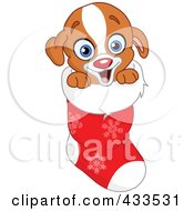 Royalty Free RF Clipart Illustration Of A Happy Puppy In A Christmas Stocking by yayayoyo
