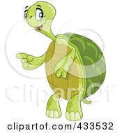 Royalty Free RF Clipart Illustration Of A Friendly Tortoise Standing And Pointing To The Left