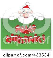 Royalty Free RF Clipart Illustration Of Santa Holding Up A Merry Christmas Sign