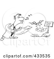 Royalty Free RF Clipart Illustration Of Coloring Page Line Art Of A Cartoon Businessman Whistling And Burying Money In A Black Hole