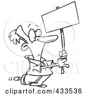 Royalty Free RF Clipart Illustration Of Coloring Page Line Art Of A Cartoon Man Advertising With A Blank Sign