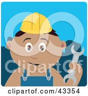 Clipart Illustration Of A Latin American Construction Worker Boy Holding A Wrench by Dennis Holmes Designs