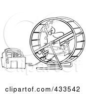 Royalty Free RF Clipart Illustration Of Coloring Page Line Art Of A Man Running In A Wheel To Power A Generator by Ron Leishman