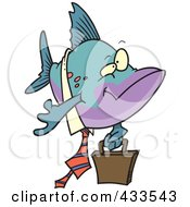 Royalty Free RF Clipart Illustration Of A Business Fish Carrying A Briefcase by toonaday