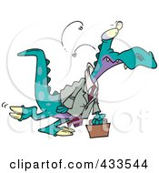 Royalty Free RF Clipart Illustration Of A Business Dinosaur Carrying A Briefcase