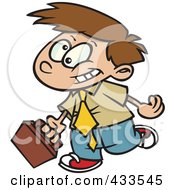 Royalty Free RF Clipart Illustration Of A Cartoon Boy Businessman Wearing A Tie And Walking