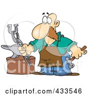 Royalty Free RF Clipart Illustration Of A Farrier Working On A Horseshoe by Ron Leishman