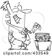 Royalty Free RF Clipart Illustration Of Coloring Page Line Art Of A Cartoon Businessman Putting His Card Into A Bowl For A Drawing