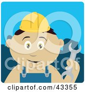 Clipart Illustration Of A Mexican Construction Worker Boy Holding A Wrench by Dennis Holmes Designs