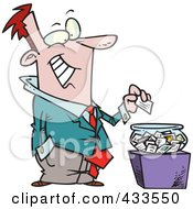 Royalty Free RF Clipart Illustration Of A Cartoon Businessman Putting His Card Into A Bowl For A Drawing
