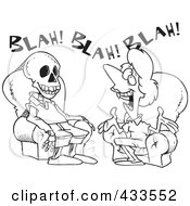 Royalty Free RF Clipart Illustration Of Coloring Page Line Art Of A Chatty Woman Talking A Man To Death