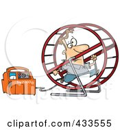Royalty Free RF Clipart Illustration Of A Man Running In A Wheel To Power A Generator by Ron Leishman