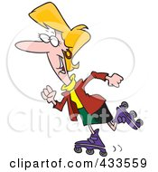 Royalty Free RF Clipart Illustration Of A Happy Businesswoman Rollerblading by toonaday