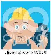 Clipart Illustration Of A Caucasian Construction Worker Boy Holding A Wrench by Dennis Holmes Designs