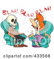 Royalty Free RF Clipart Illustration Of A Chatty Woman Talking A Man To Death