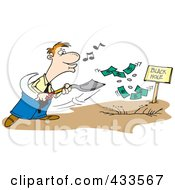 Royalty Free RF Clipart Illustration Of A Cartoon Businessman Whistling And Burying Money In A Black Hole