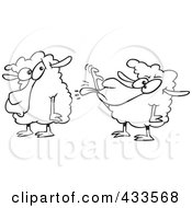 Royalty Free RF Clipart Illustration Of Coloring Page Line Art Of A Sheep Sticking Its Tongue Out At Another Sheep by toonaday
