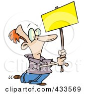 Royalty Free RF Clipart Illustration Of A Cartoon Man Advertising With A Blank Sign by toonaday