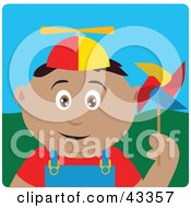 Clipart Illustration Of A Happy Latin American Boy Playing With A Pinwheel