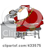 Royalty Free RF Clipart Illustration Of Santa Sitting On A Stool And Looking Through A Microscope by Dennis Cox