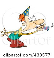 Royalty Free RF Clipart Illustration Of A Cartoon Man Blowing A Party Horn