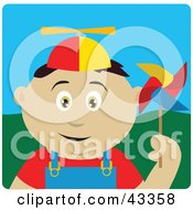 Clipart Illustration Of A Happy Mexican Boy Playing With A Pinwheel
