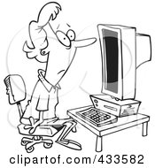 Royalty Free RF Clipart Illustration Of Coloring Page Line Art Of A Woman Staring Blankly At A Computer
