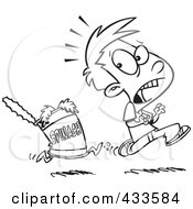 Royalty Free RF Clipart Illustration Of Coloring Page Line Art Of A Can Of Spinach Chasing A Boy by toonaday