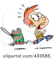 Royalty Free RF Clipart Illustration Of A Can Of Spinach Chasing A Boy by toonaday