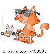 Royalty Free RF Clipart Illustration Of A Blind Cat Using An Assistance Dog