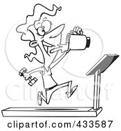 Royalty Free RF Clipart Illustration Of Coloring Page Line Art Of A Fit Woman Running On A Treadmill And Drinking Juice From A Blender by Ron Leishman