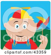 Clipart Illustration Of A Happy Blond Caucasian Boy Playing With A Pinwheel by Dennis Holmes Designs