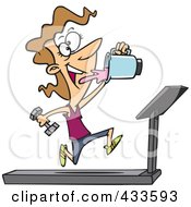 Royalty Free RF Clipart Illustration Of A Fit Woman Running On A Treadmill And Drinking Juice From A Blender by Ron Leishman