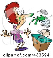 Royalty Free RF Clipart Illustration Of A Woman Getting Splashed From Juice With Her Blender by toonaday