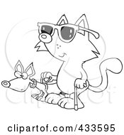Royalty Free RF Clipart Illustration Of Coloring Page Line Art Of A Blind Cat Using An Assistance Dog