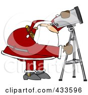 Royalty Free RF Clipart Illustration Of Santa Looking Through A Telescope by Dennis Cox