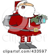 Royalty Free RF Clipart Illustration Of Santa Holding A Camera And Taking Pictures