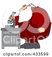 Royalty Free RF Clipart Illustration Of Santa Standing And Using A Microscope by Dennis Cox