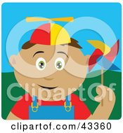Clipart Illustration Of A Happy Hispanic Boy Playing With A Pinwheel