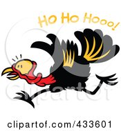 Royalty Free RF Clipart Illustration Of A Christmas Turkey Running Under Ho Ho Hooo Text