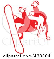 Royalty Free RF Clipart Illustration Of A Red Snowboarding Santa