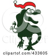 Royalty Free RF Clipart Illustration Of A Christmas Tyrannosaurus Rex Wearing A Santa Hat by Zooco