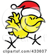 Royalty Free RF Clipart Illustration Of A Christmas Chicken Running And Wearing A Santa Hat