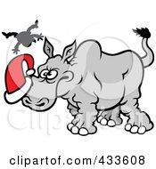 Royalty Free RF Clipart Illustration Of A Christmas Rhino Goring Santa