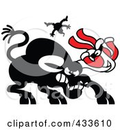 Royalty Free RF Clipart Illustration Of A Black Bull Tossing Santa With Santas Suit Stuck On His Horns