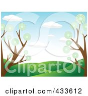 Royalty Free RF Clipart Illustration Of A Landscape Background Of Green Hills Framed By Trees With Circle Foliage by mheld