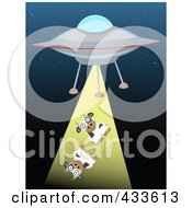 Royalty Free RF Clipart Illustration Of A Cows Being Beamed Up By A Flying Saucer by mheld